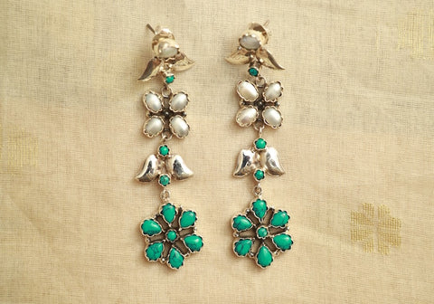 Sterling Silver Earrings with Stones Design 60