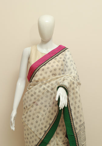 Blockprinted White Kota Saree with Pink and Green Border