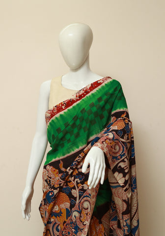 Assam Silk Printed Kalamkari Saree Design 3