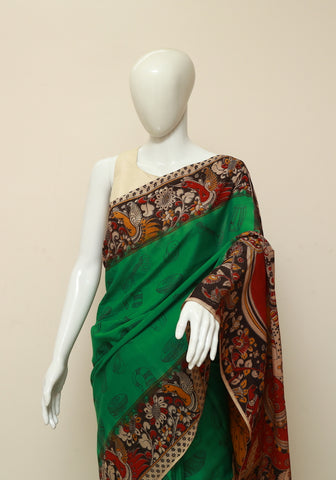 Assam Silk Printed Kalamkari Saree Design 4
