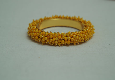Yellow Bangle with Beads