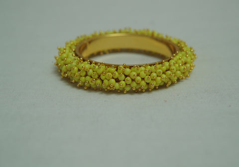Neon Yellow Bangle with Beads