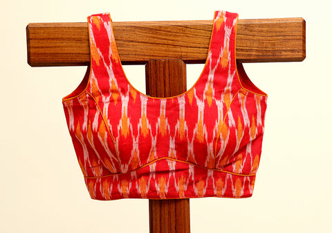 Sleeveless Ikat Blouse Design 4