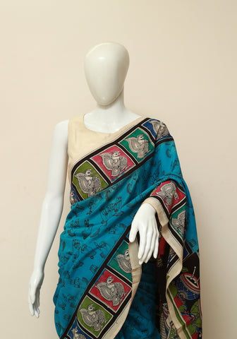 Assam Silk Printed Kalamkari Saree Design 7