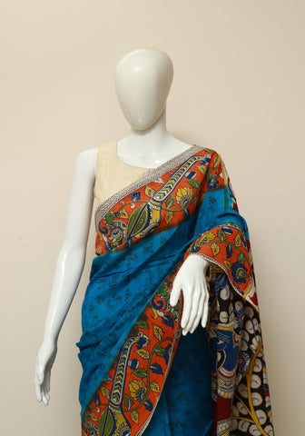 Assam Silk Printed Kalamkari Saree Design 8