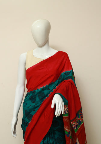 Assam Silk Printed Kalamkari Saree Design 9