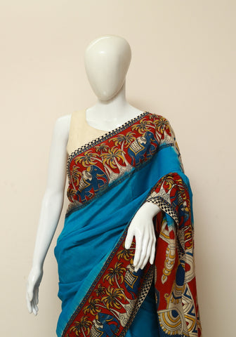Assam Silk Printed Kalamkari Saree Design 10
