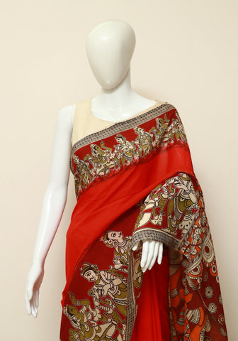 Assam Silk Printed Kalamkari Saree Design 11