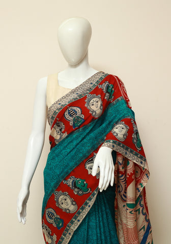 Assam Silk Printed Kalamkari Saree Design 12