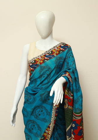 Assam Silk Printed Kalamkari Saree Design 13