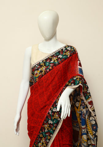 Assam Silk Printed Kalamkari Saree Design 14