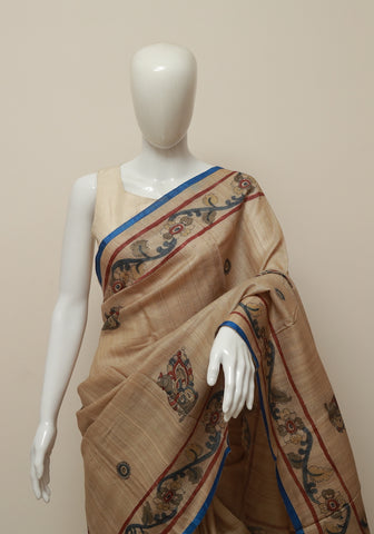 Tussar Silk Hand Painted Kalamkari Saree Design 4