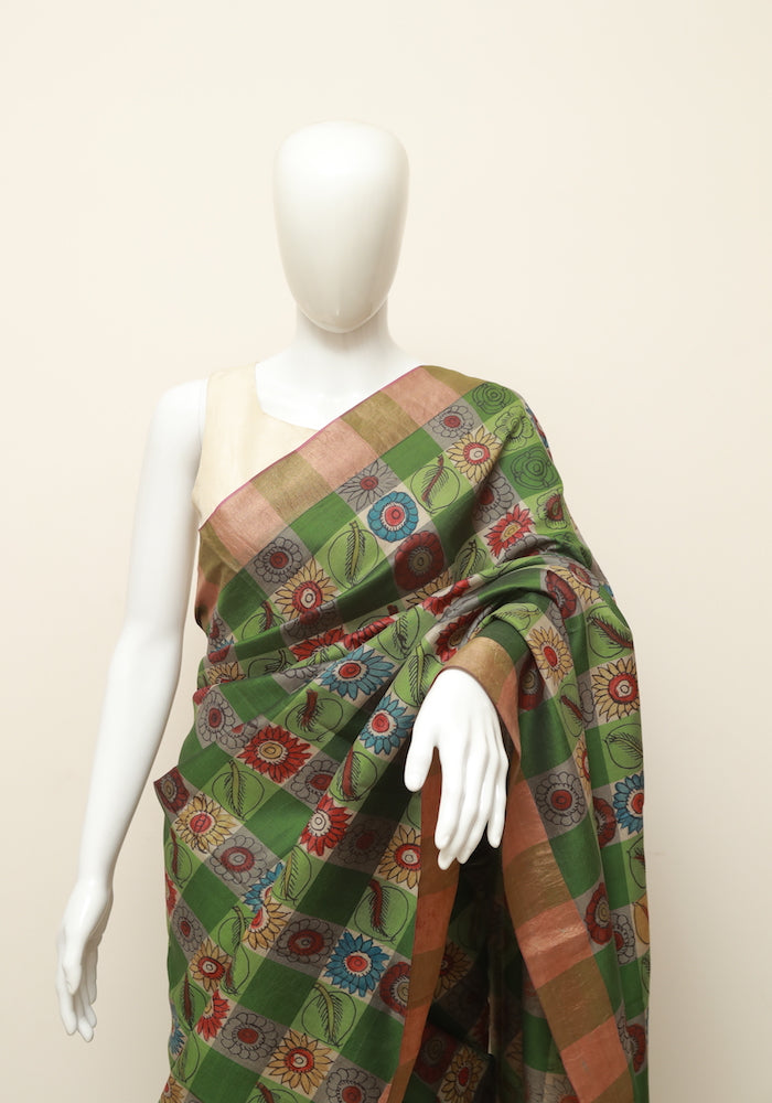 dbc5f00160efd8 Green Pen Kalamkari Saree – Desically Ethnic