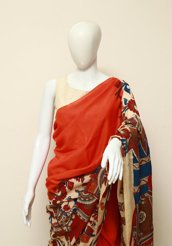 Assam Silk Printed Kalamkari Saree Design 16