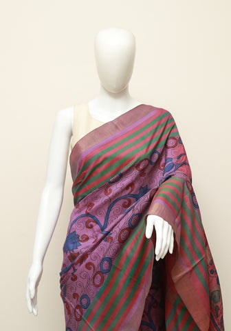 Purple Uppada Pen Kalamkari Saree