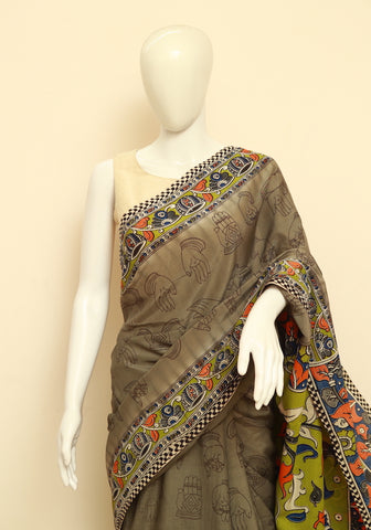 Assam Silk Printed Kalamkari Saree Design 28
