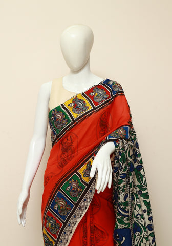 Assam Silk Printed Kalamkari Saree Design 18