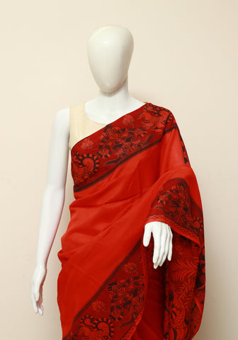 Assam Silk Printed Kalamkari Saree Design 19