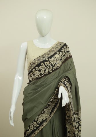 Assam Silk Printed Kalamkari Saree Design 31