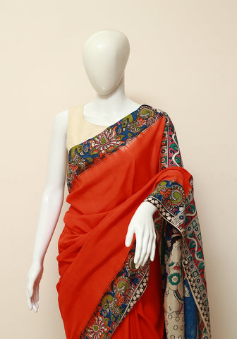 Assam Silk Printed Kalamkari Saree Design 20