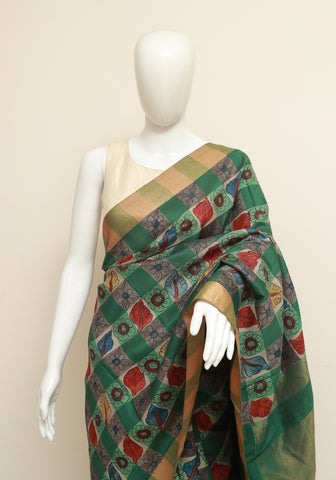 Dark Green Uppada Pen Kalamkari Saree