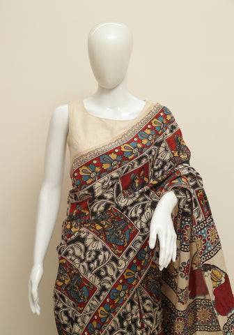 Assam Silk Printed Kalamkari Saree Design 33
