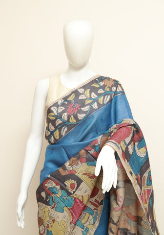 Tussar Silk Pen Kalamkari Saree Design 5