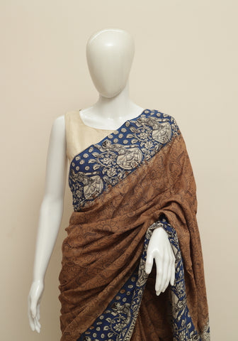 Assam Silk Printed Kalamkari Saree Design 34