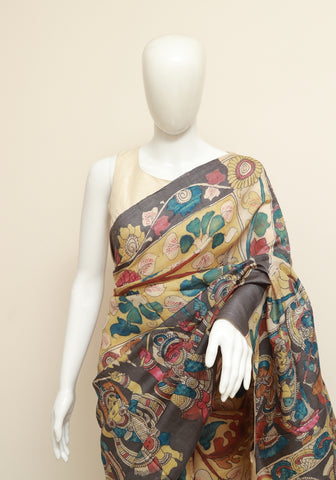 Tussar silk pen Kalamkari Saree Design 1
