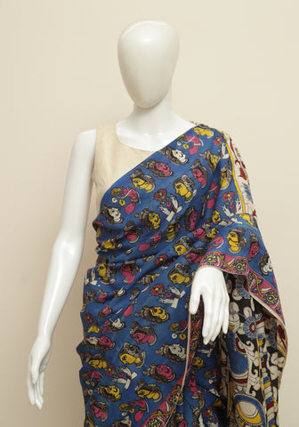 Assam Silk Printed Kalamkari Saree Design 36