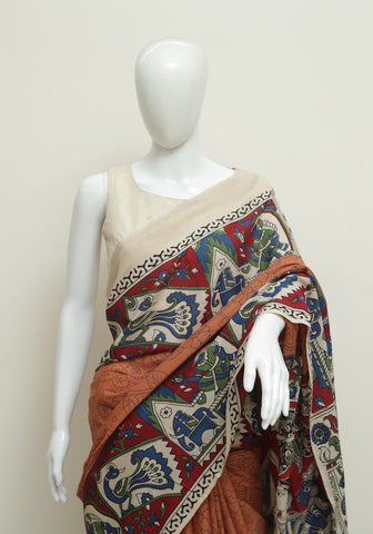 Assam Silk Printed Kalamkari Saree Design 38