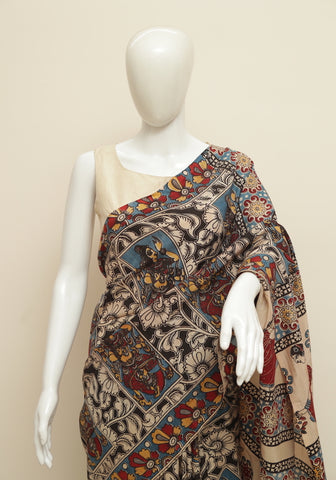 Assam Silk Printed Kalamkari Saree Design 39