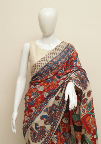 Assam Silk Printed Kalamkari Saree Design 40