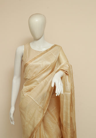 Plain Tussar Silk Saree With Zari