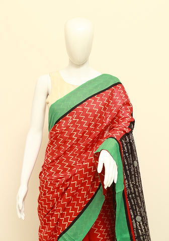 Block Printed Designer Mul Cotton Saree Design 77
