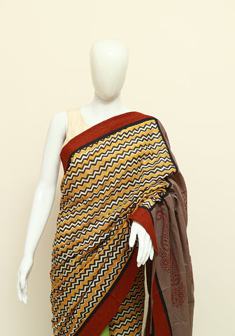 Block Printed Designer Mul Cotton Saree Design 80