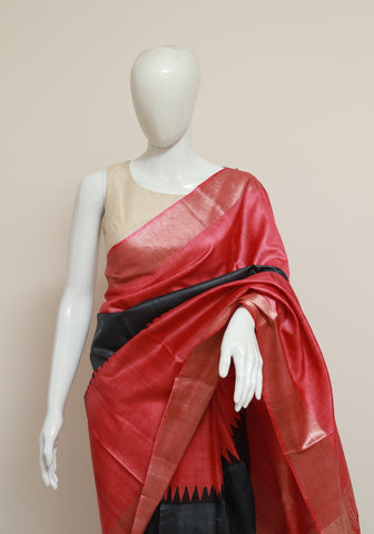 Block Printed Tussar Silk Saree With Zari Design 26