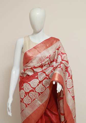 Block Printed Tussar Silk Saree With Zari Design 27