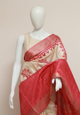 Block Printed Tussar Silk Saree With Zari Design 28