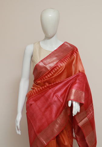 Block Printed Tussar Silk Saree With Zari Design 29