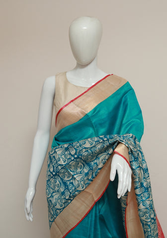 Block Printed Tussar Silk Saree With Zari Design 30