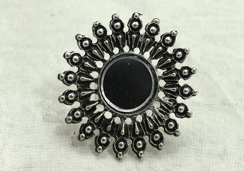 Tribal Afghan Ring with Mirror Design 3