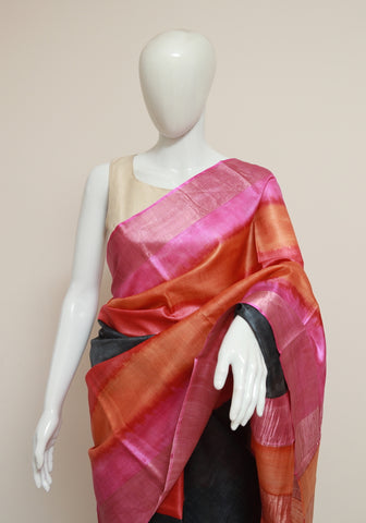 Block Printed Tussar Silk Saree With Zari Design 31