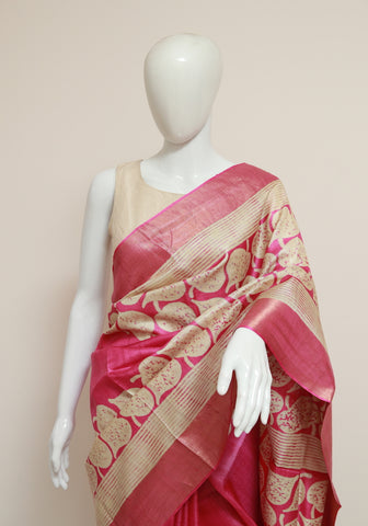 Block Printed Tussar Silk Saree With Zari Design 32