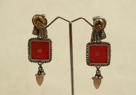 Sterling Silver Earrings with Glass Enamel Design 2