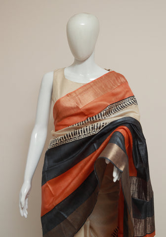 Block Printed Tussar Silk Saree With Zari Design 34