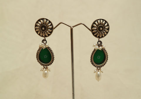 Sterling Silver Earrings with Glass Enamel Design 4