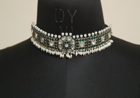 Sterling Silver Choker with white and green stones