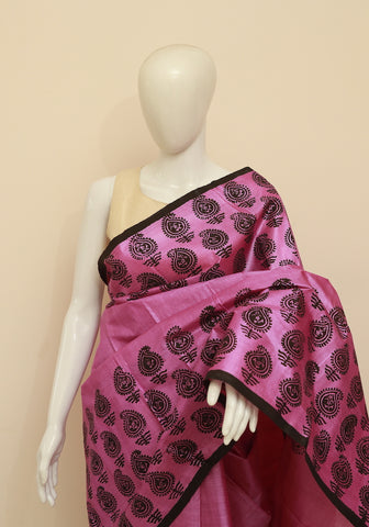 Block Printed Tussar Silk Saree Design 18