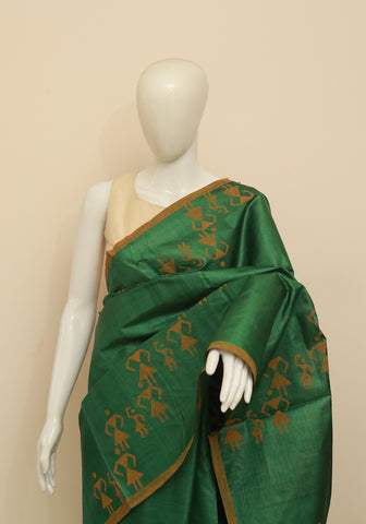 Block Printed Tussar Silk Saree Design 20